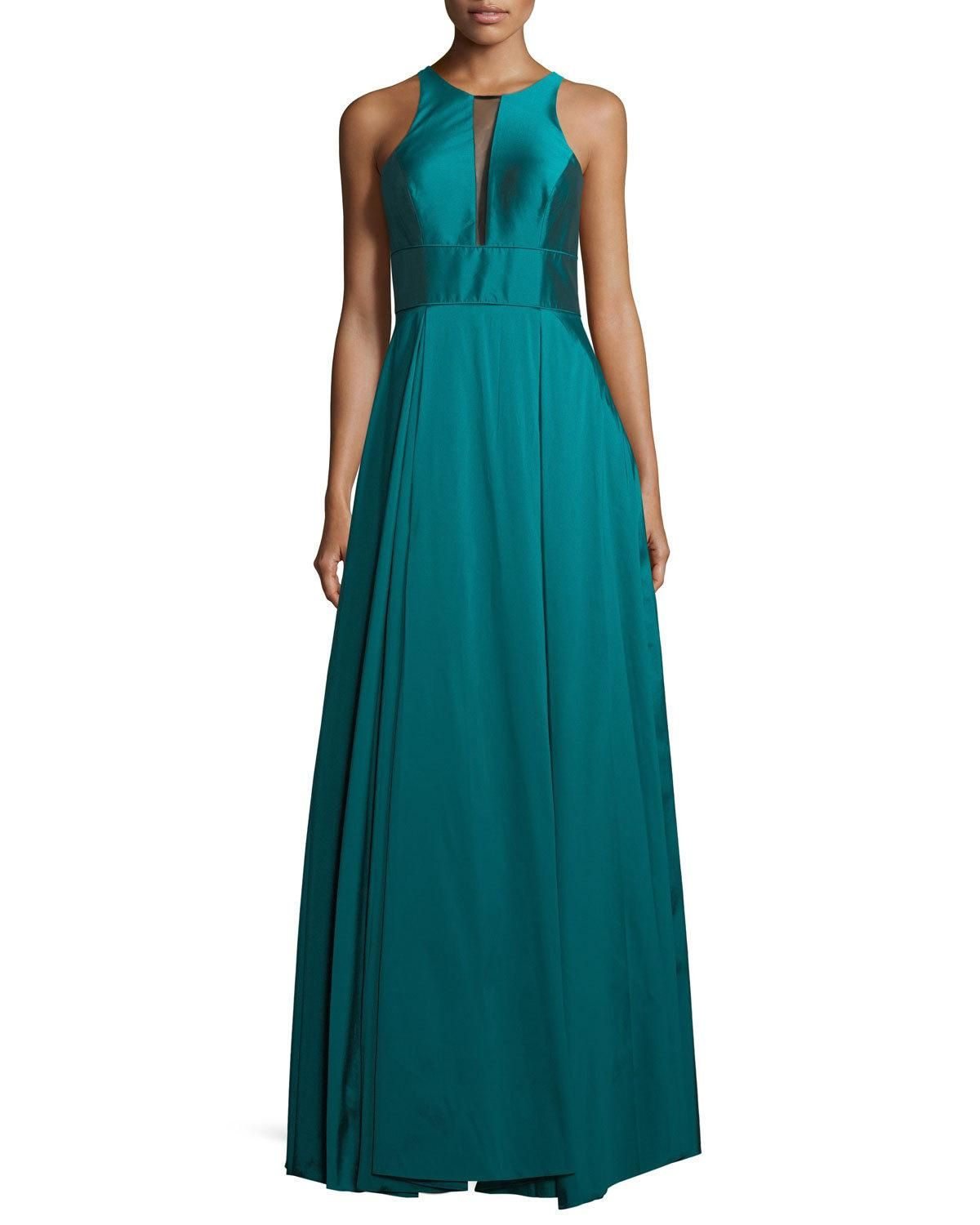 Sleeveless Pleated Taffeta Gown | Aidan mattox, Gowns and Top designers