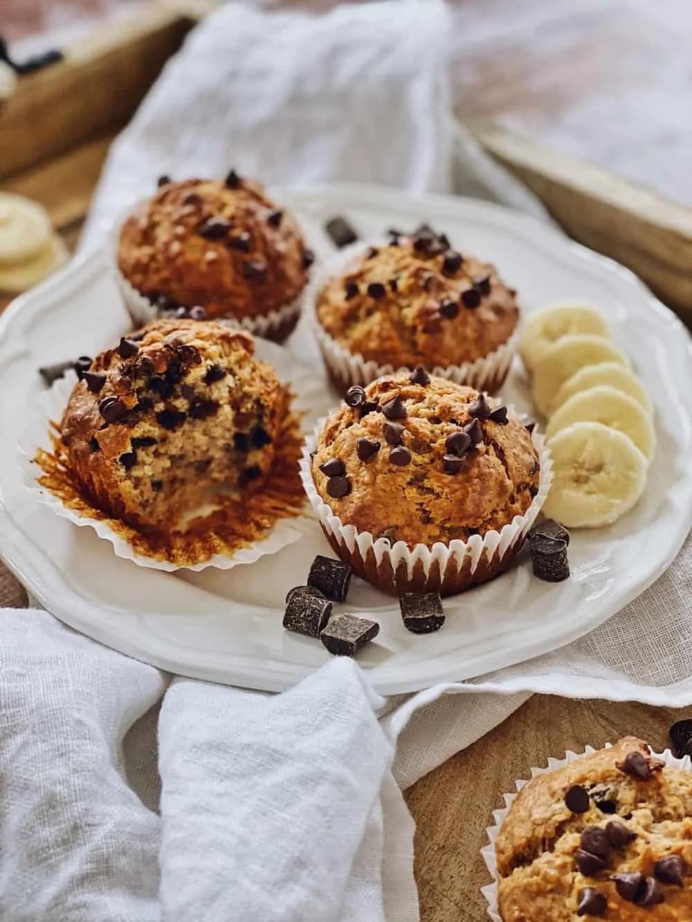 Erdnussbutter-Bananen-Schoko Muffins - Fashion Kitchen