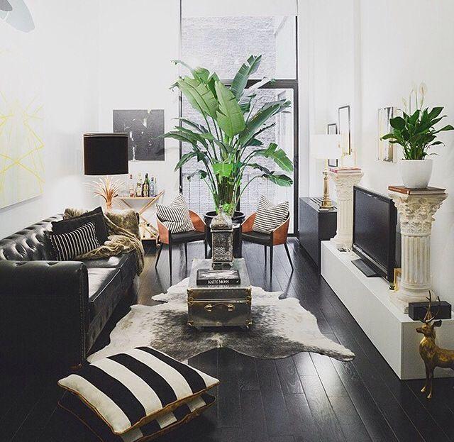Dark Floors And Plants Living Room Inspiration Room Decor Room