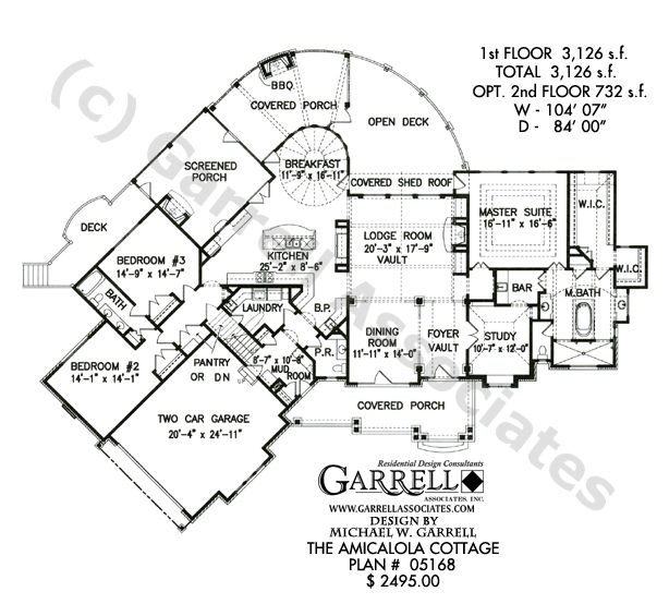 Mountain Craftsman House Plans: Amicalola Cottage House Plan 05168, 1st Floor Plan