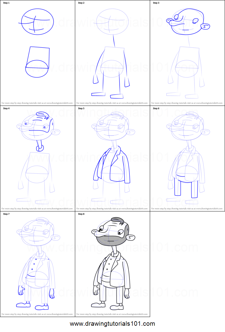 How To Draw Oskar Kokoshka From Hey Arnold Printable Drawing Sheet By Drawingtutorials101 Com Drawing Sheet Hey Arnold Drawings