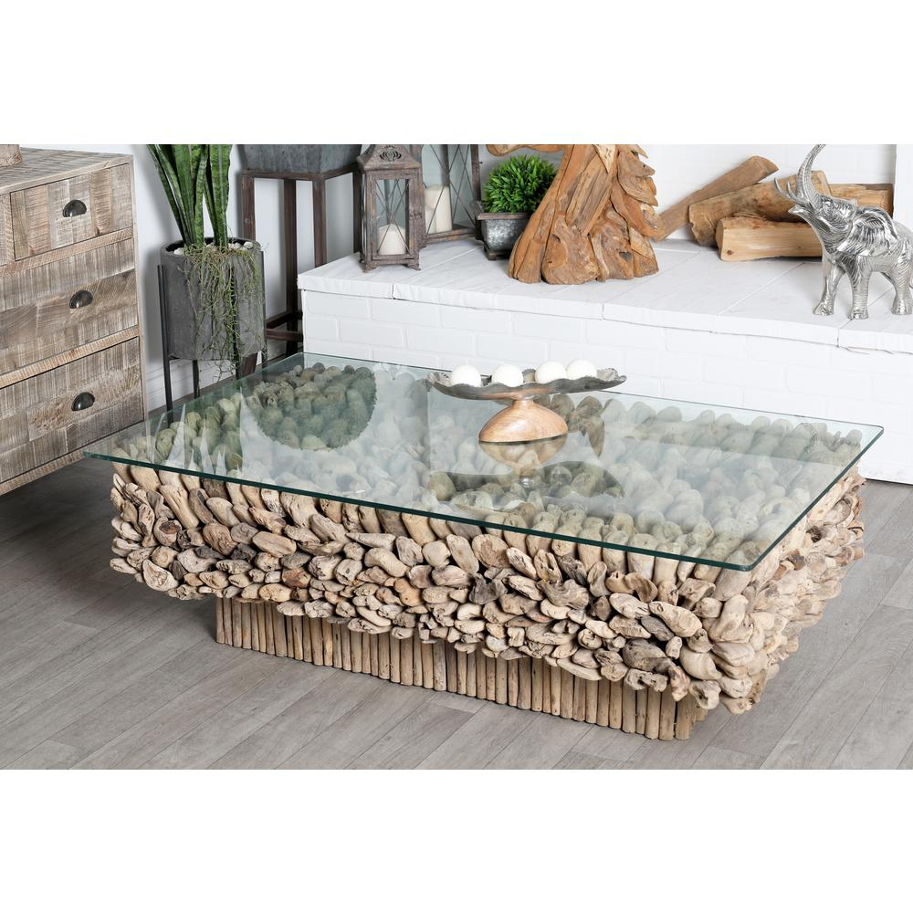 Litton Lane 49 In Brown Clear Large Rectangle Glass Coffee Table With Glass Top 64033 The Home Depot Driftwood Coffee Table Round Glass Coffee Table Rectangle Glass Coffee Table [ 1000 x 1000 Pixel ]