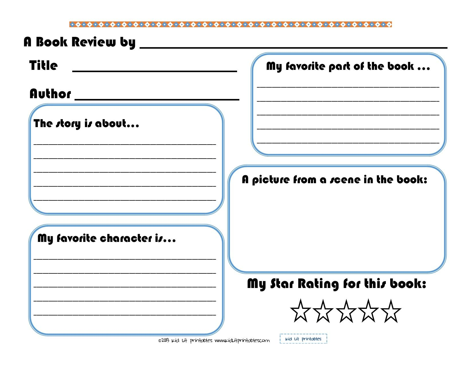 3 levels of free printable book reports from Kid Lit Printables
