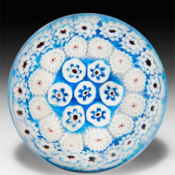 Unidentified Maker Probably Murano Close Concentric Blue And White