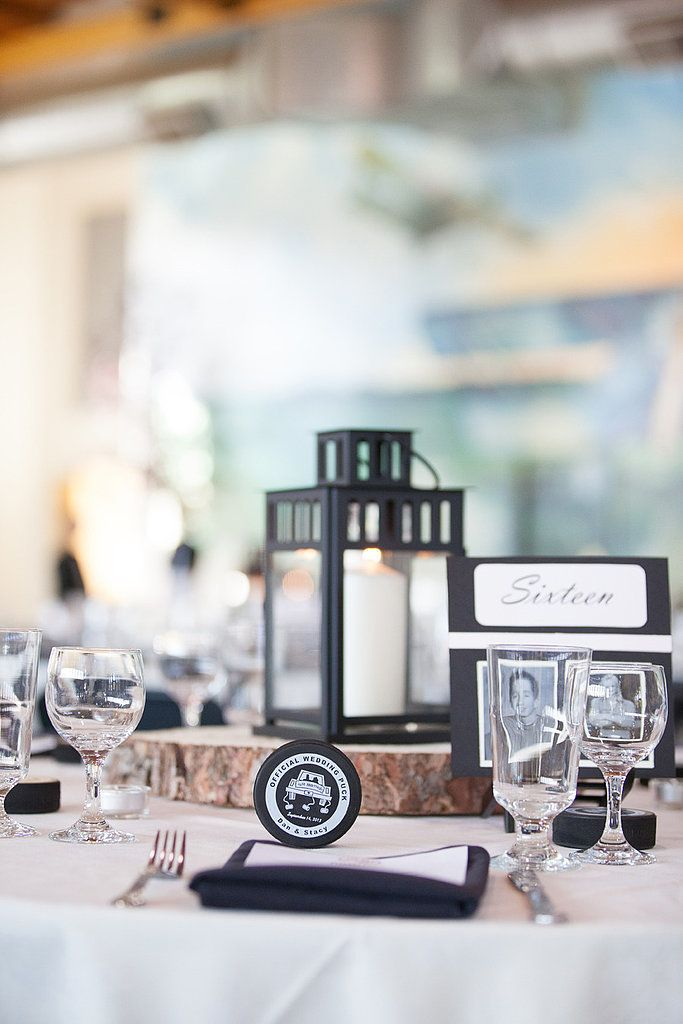 Score Cool Wedding Style With HockeyInspired Details Place setting
