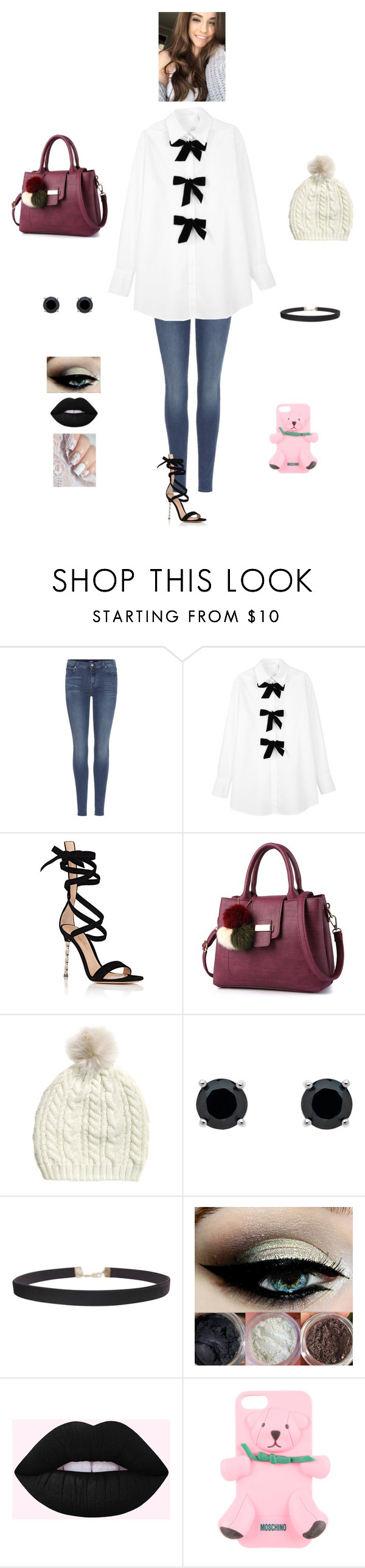 """""""S G"""" by queen-kaitlyn ❤ liked on Polyvore featuring 7 For All Mankind, See by Chloé, Gianvito Rossi, Monet, Humble Chic and Moschino"""