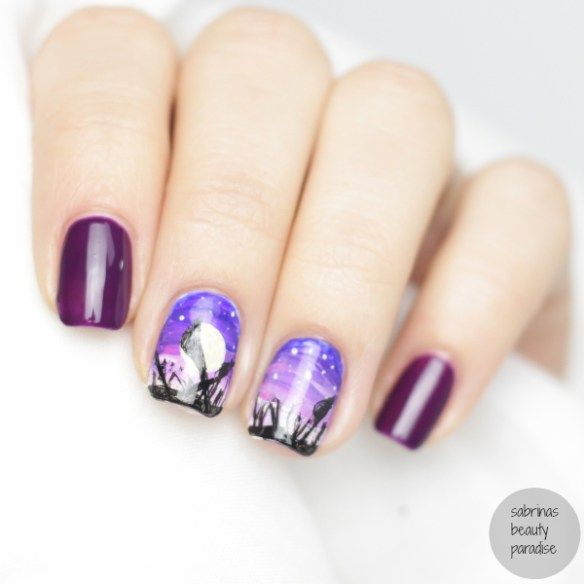 Look to go purple violet freehand acrylic nailart