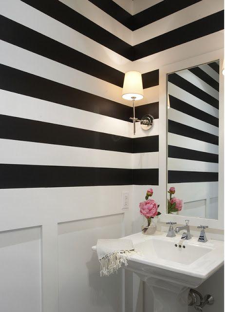 Love The Black And White Striped Walls Striped Walls Bathroom