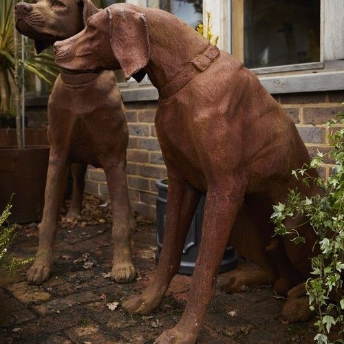 Details about Cast Iron Sitting Rhodesian Ridgeback Dog