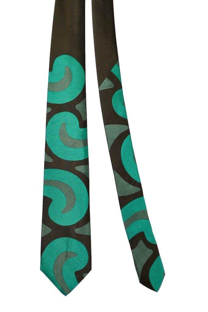 420ba24f00e7 Gene Meyer Silk Tie Brown Emerald Green Oversized Paisley Design #GeneMeyer  #Cool #Tie #Emerald