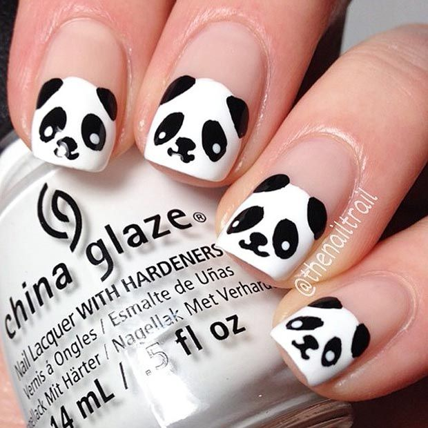 Black and White Panda Nails - 50 Best Black And White Nail Designs StayGlam Beauty Pinterest