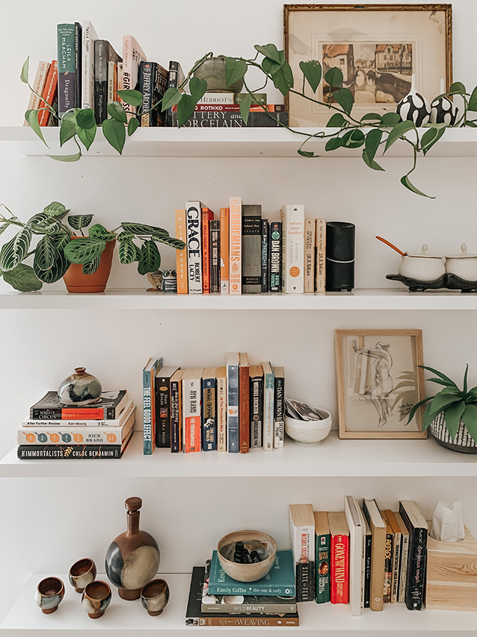 DIY Stacked Floating Book Shelves