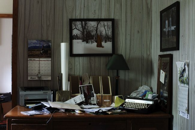 The desk of musician Justin Vernon from Bon Iver photographed by Jason Nocito