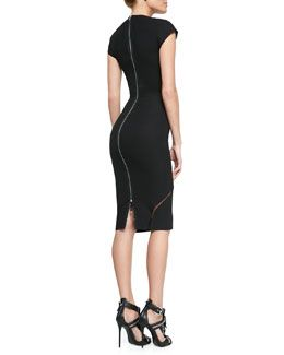 W04ML Victoria Beckham Sheer-Insert Cap-Sleeve Sheath Dress