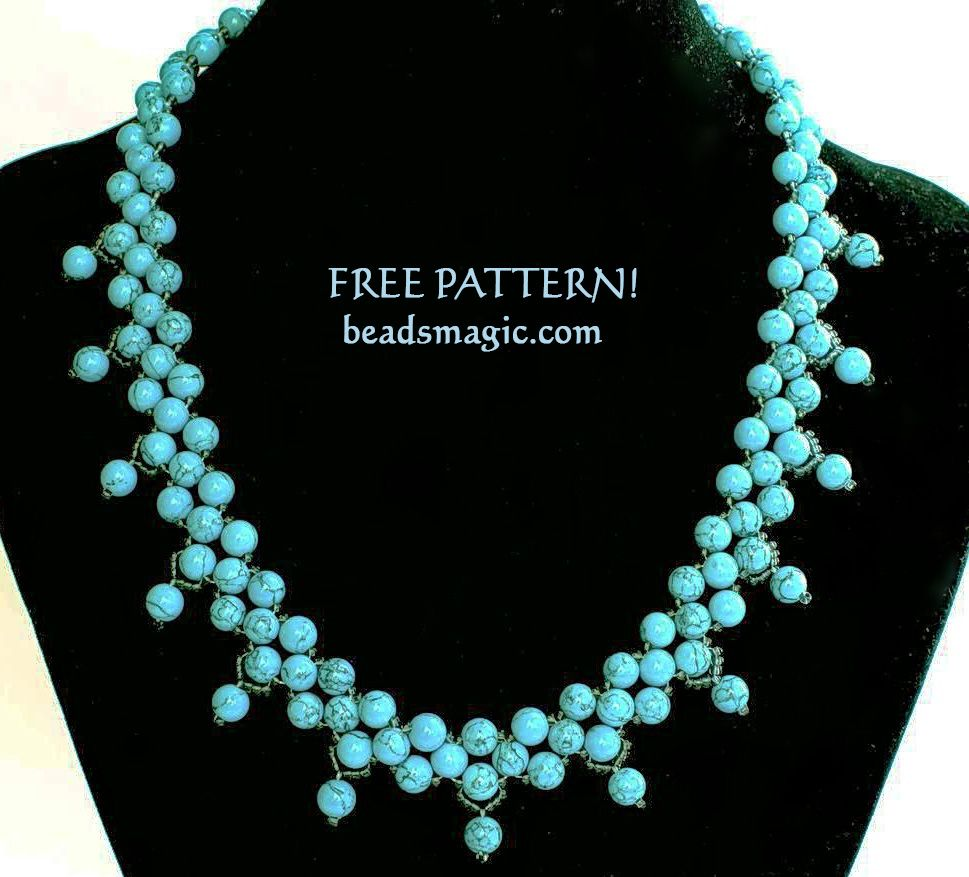 Free pattern for beaded necklace Firoza with turquoise U need