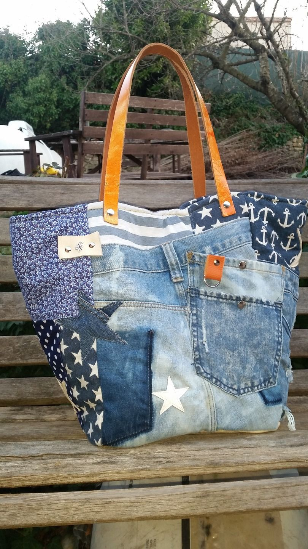 grand sac cabas en jeans used et cuir style marin sacs. Black Bedroom Furniture Sets. Home Design Ideas