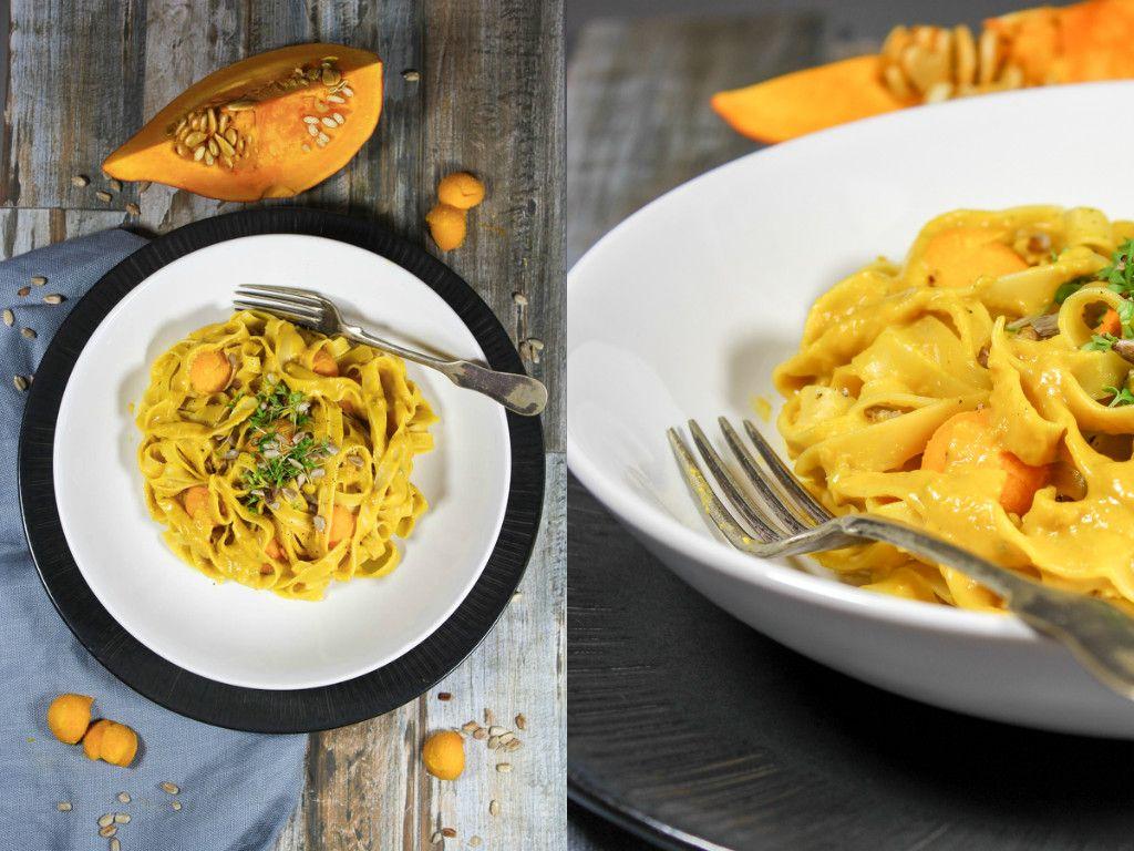Rezept: Tagliatelle mit Kürbis, Gorgonzola und gerösteten Sonnenblumenkernen
