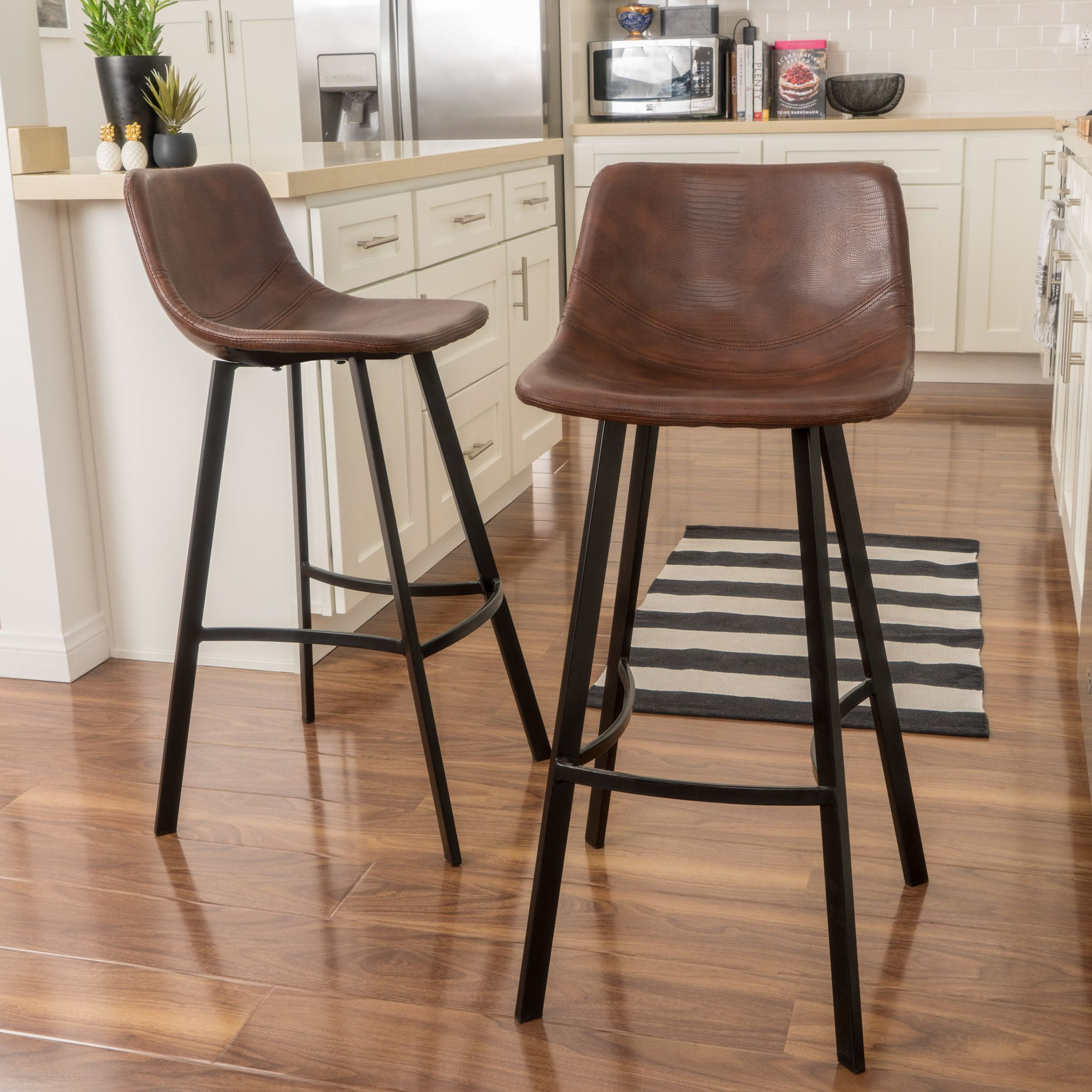 Rex Modern Upholstered Bar Stool Set Of 2 For The Home