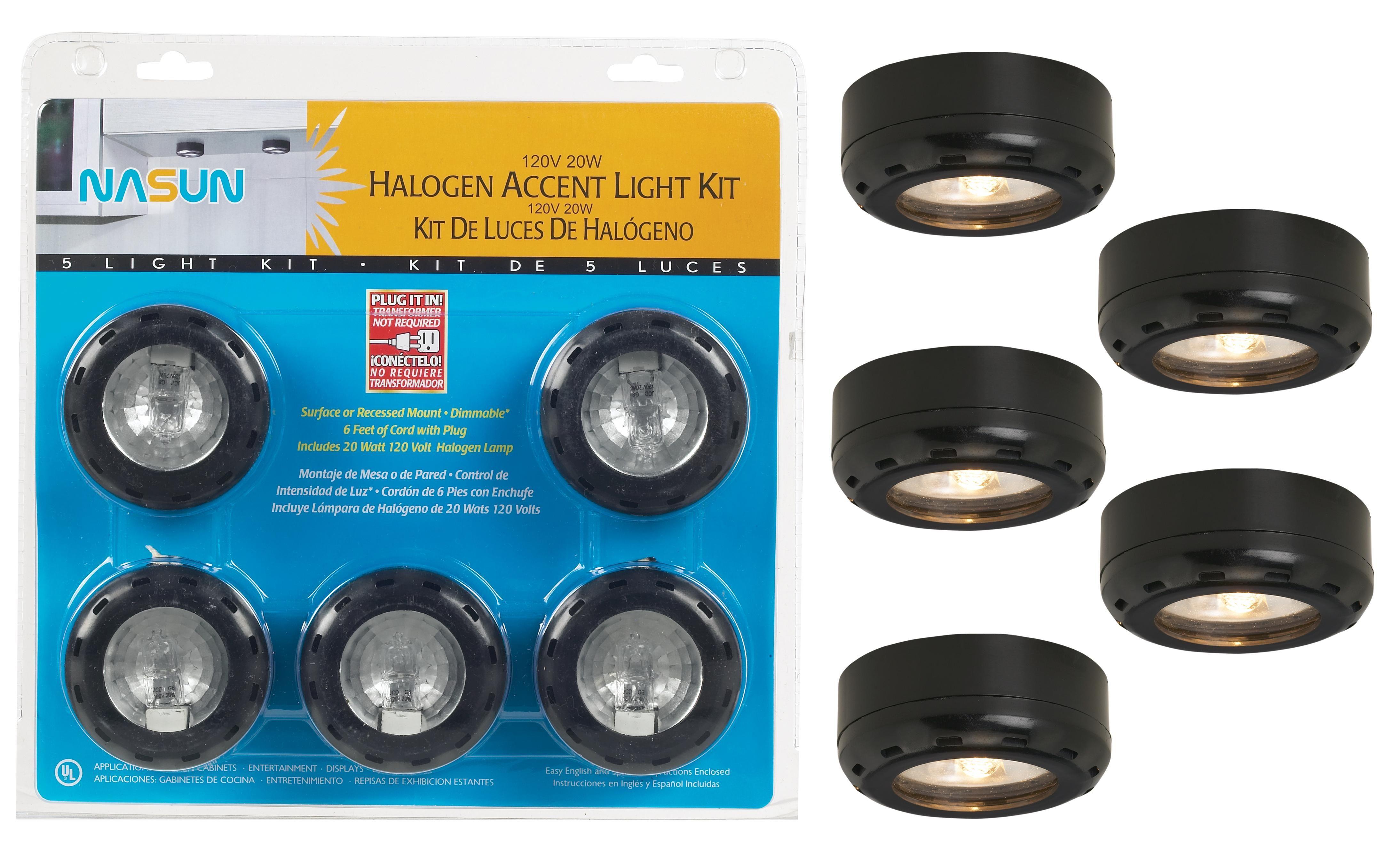Black Halogen 20 Watt 5 Pack Puck Light Kit 86395 Lamps Plus Puck Lights Wall Light With Switch Lamps Plus
