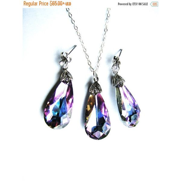 SALE 20% OFF, Swarovski Crystal Teardrop Pendant Necklace Cz Earrings,... ($53) ❤ liked on Polyvore featuring jewelry