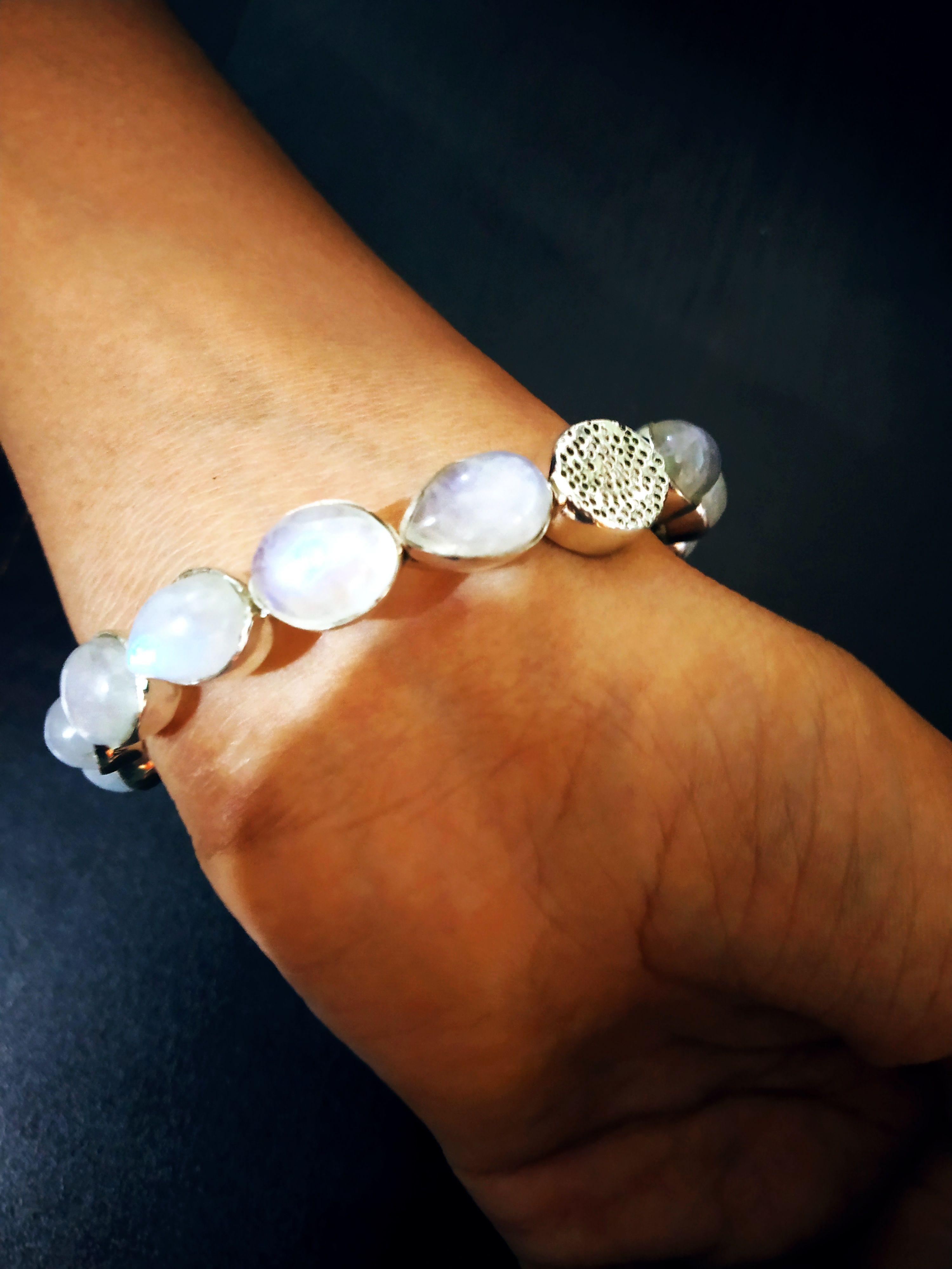 Oval Moonstone Bracelet Vintage Quartz Bracelet Healing Crystal Mystical Moonstone Bracelet Sterling Silver Bracelet Vintage Jewelry