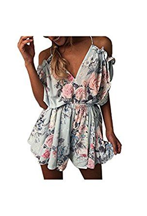 5319fb11d9e Amazon.com  Yidarton Womens Rompers Casual Print Playsuit Summer Holiday  Beach Party Jumpsuit Shorts Dress  Clothing