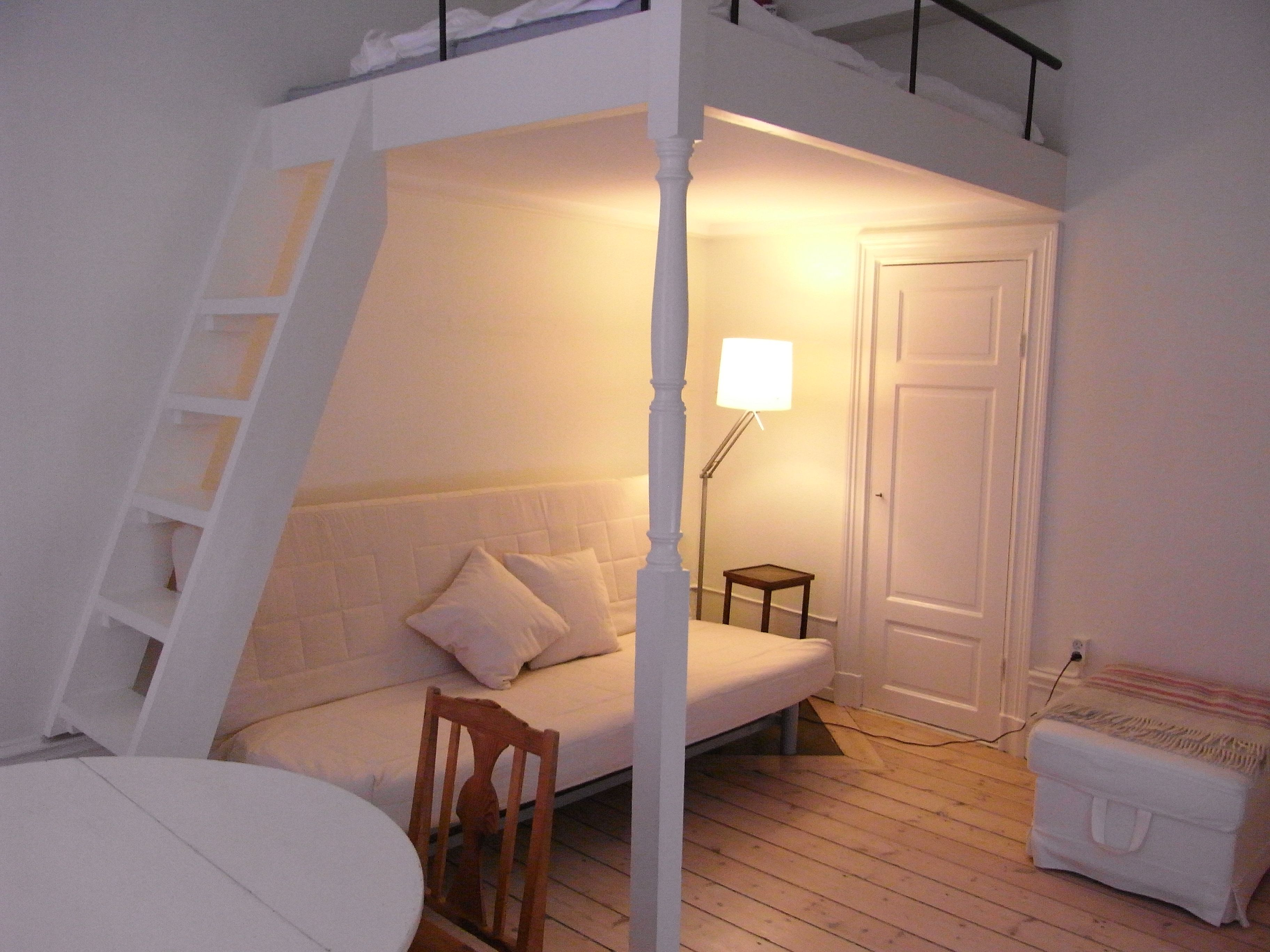 Small bedroom loft bed ideas  bed with sofa and latter built in  Making a home  Pinterest