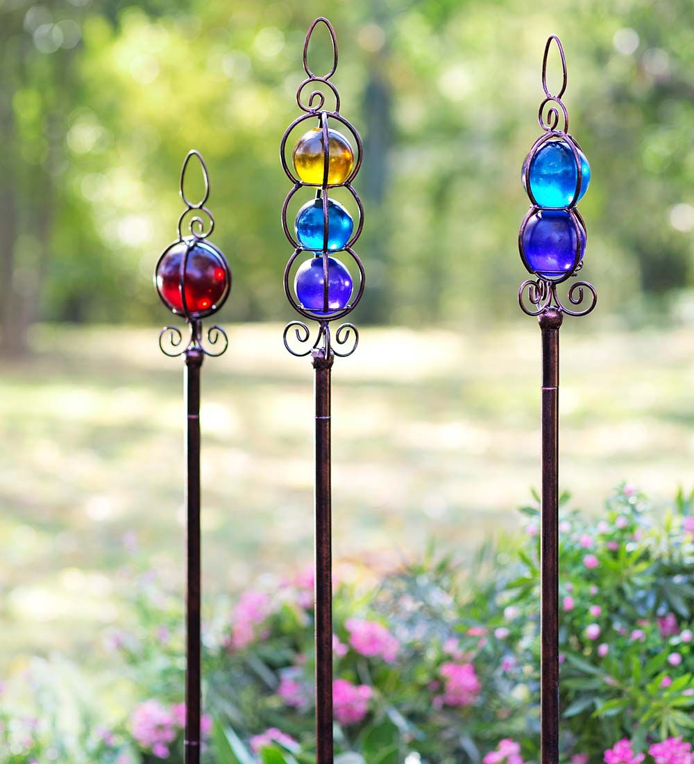Glass Ball Garden Stakes, Set of 3 | Decorative Garden Accents ...