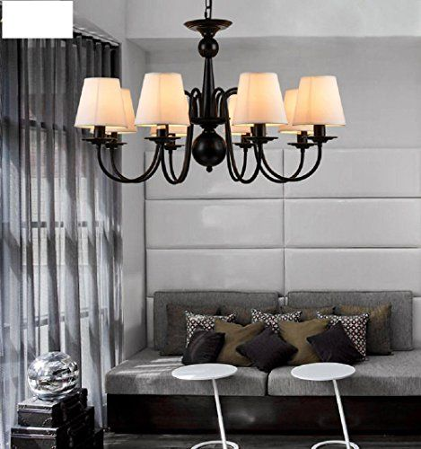 YanCui Scandinavian Continental Retro American Country Style Iron Living  Room Lamp Lamp Bedroom Continental Box Pendant