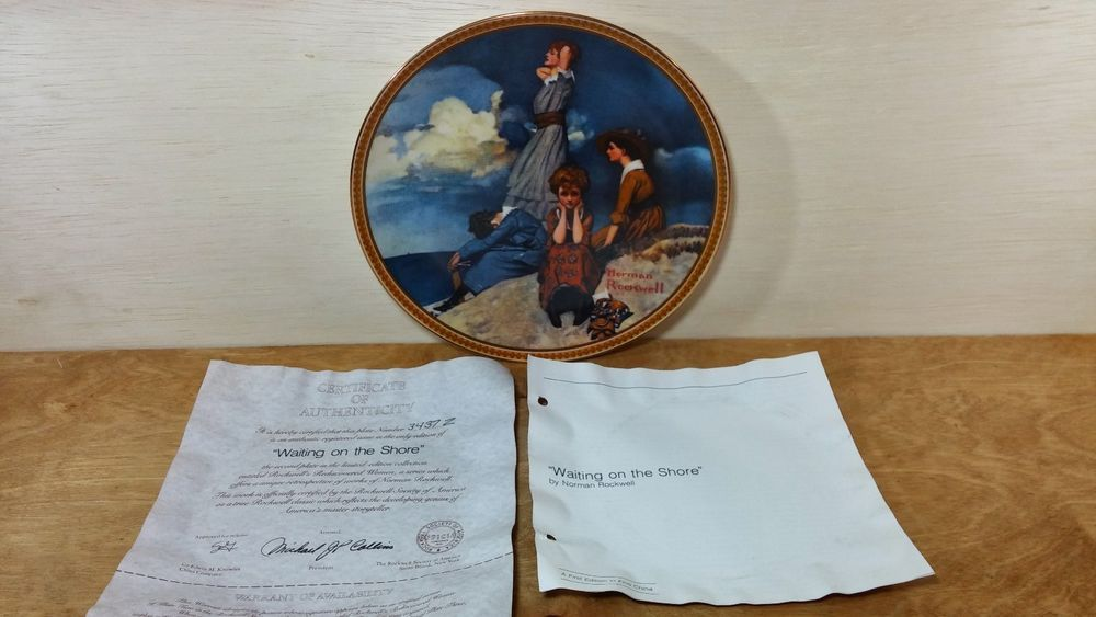 "Knowles Norman Rockwell Plate ""Waiting on the Shore"" w/coa"