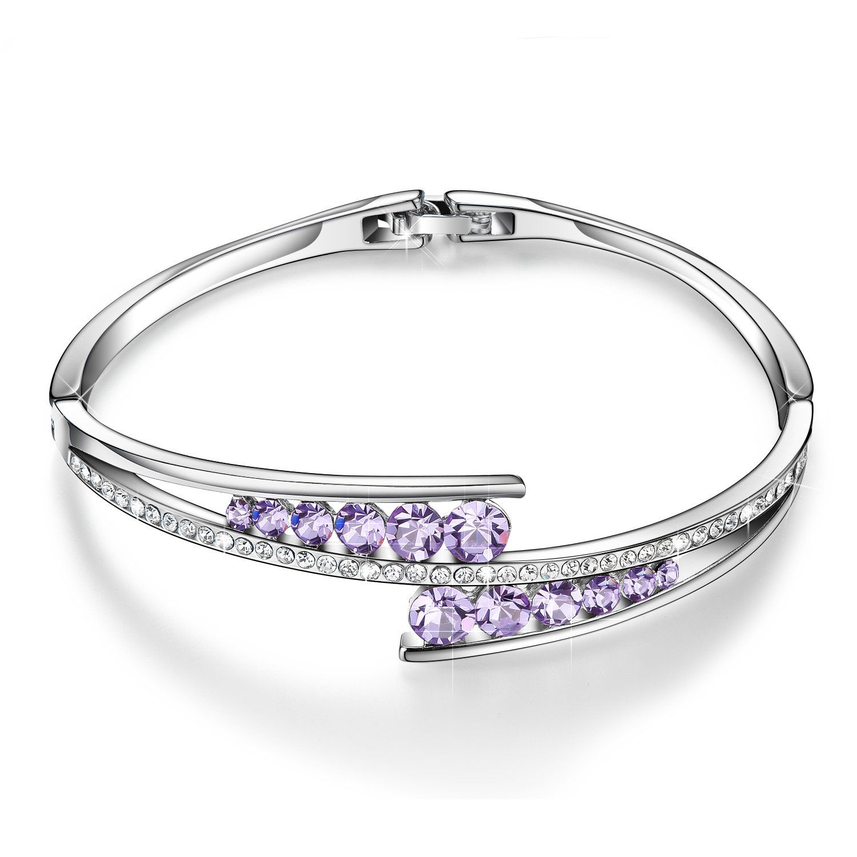 Menton Ezil Love Encounter White Gold Silver Bracelets Swarovski Element Crystal Bangle Adjustable Hinged Womens Jewellery kBK4pqweVF