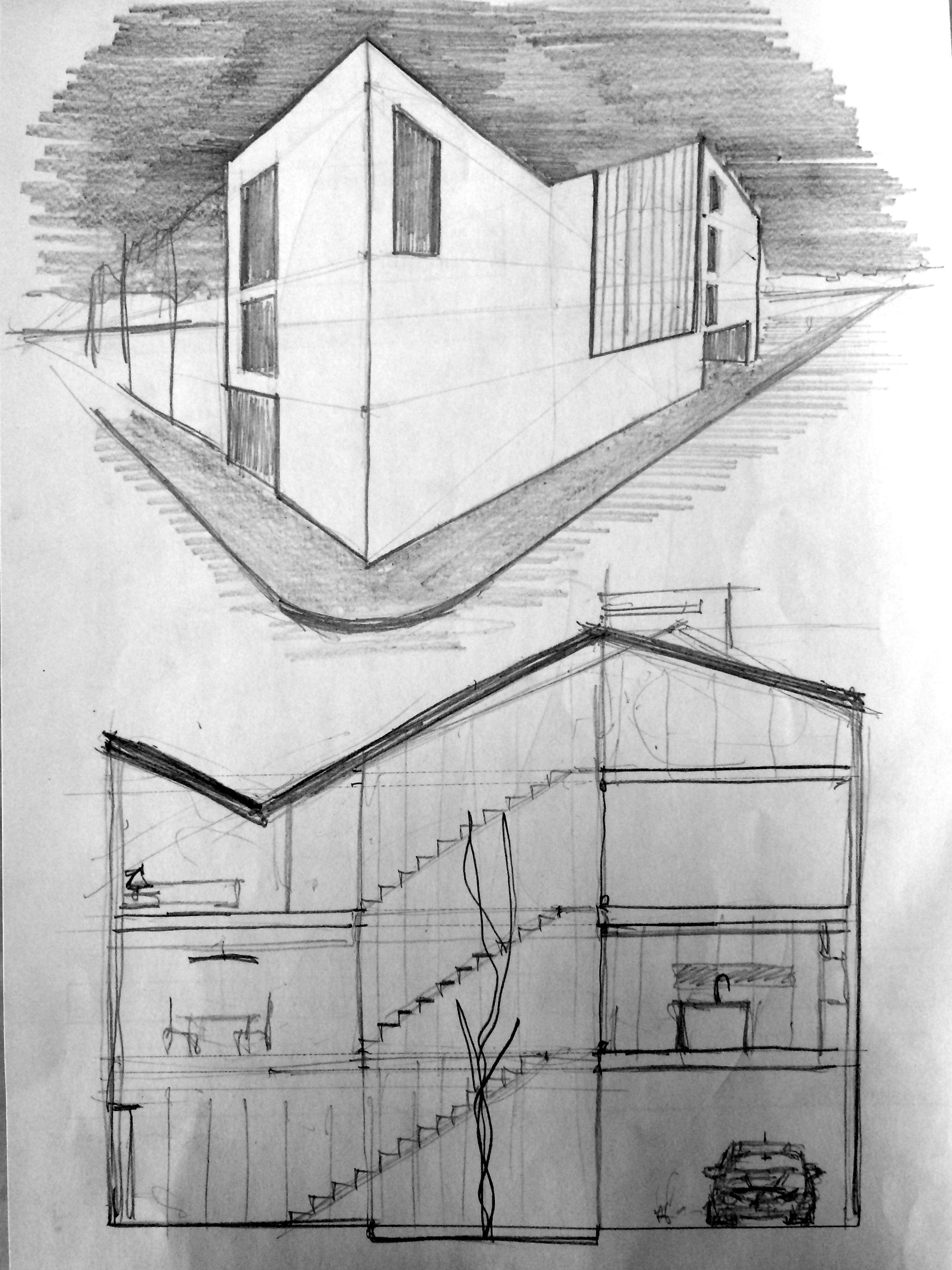 Bocetos de arquitectura dibujo a l piz alzados bocetos - Alzado arquitectura ...