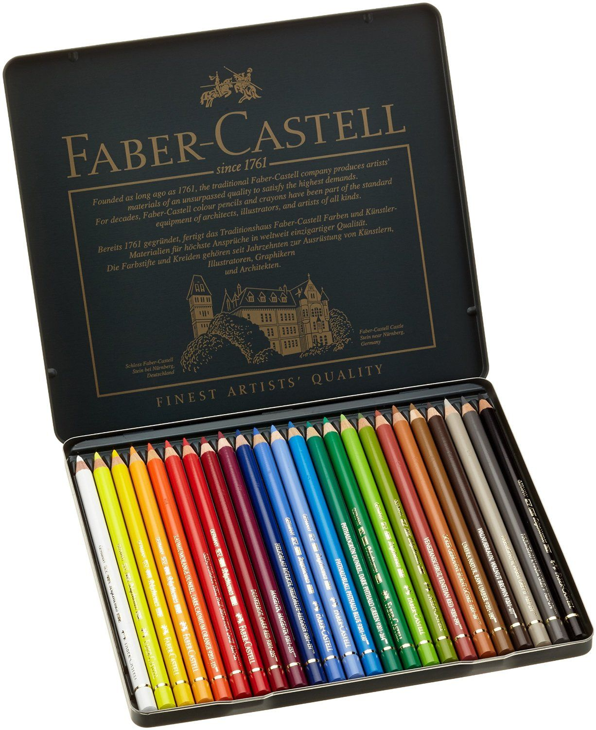 Art colored pencils - Amazon Com Faber Castel 24 Piece Polychromous Colored Pencil Set In Metal Tin