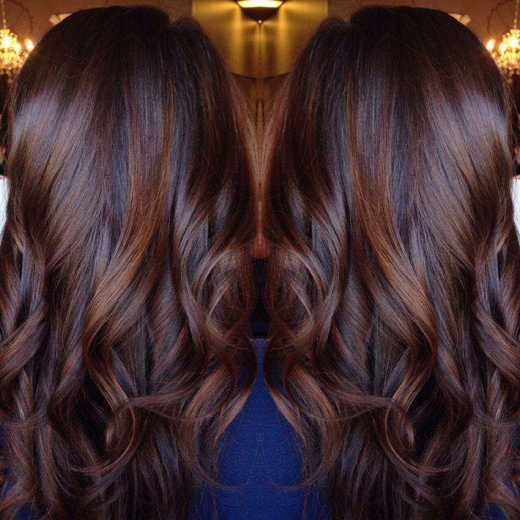 Hair Coloring Brunette Balayage Chocolate Red