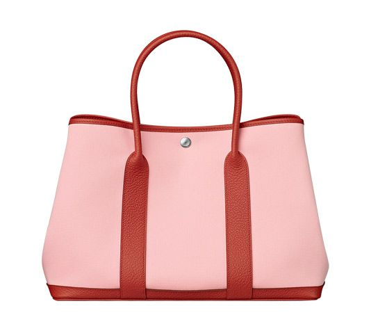 Garden Party Hermes bag in Sakura pink canvas with duchess red cowhide  (size GM) Measures 14