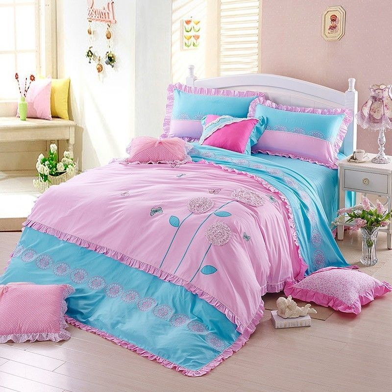 Pink Girls Embroidery Floral Duvet Cover Set Blue Child