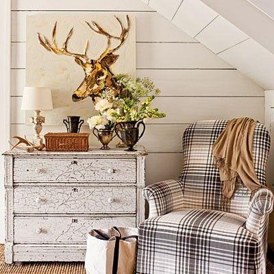 Deer Painting | Plaid Chair