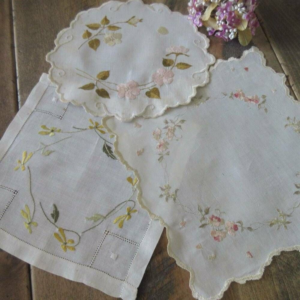 Set of 3 Antique c1900 Society Silk Embroidered Doilies in