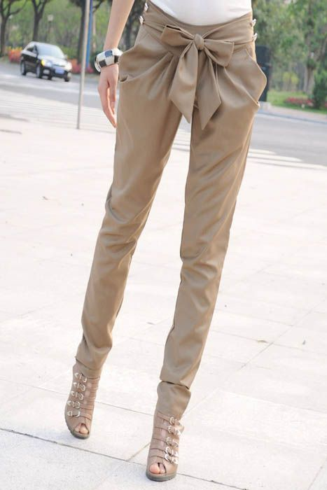 Khaki Fashion Women Girl Skinny Long Trousers OL Casual Slim Bow Pants Chic