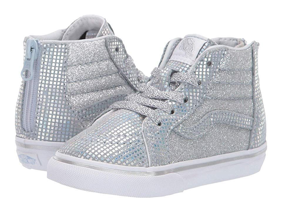 f0b22ae82302 Vans Kids Sk8-Hi Zip (Infant Toddler) ((Metallic Glitter) Silver ...