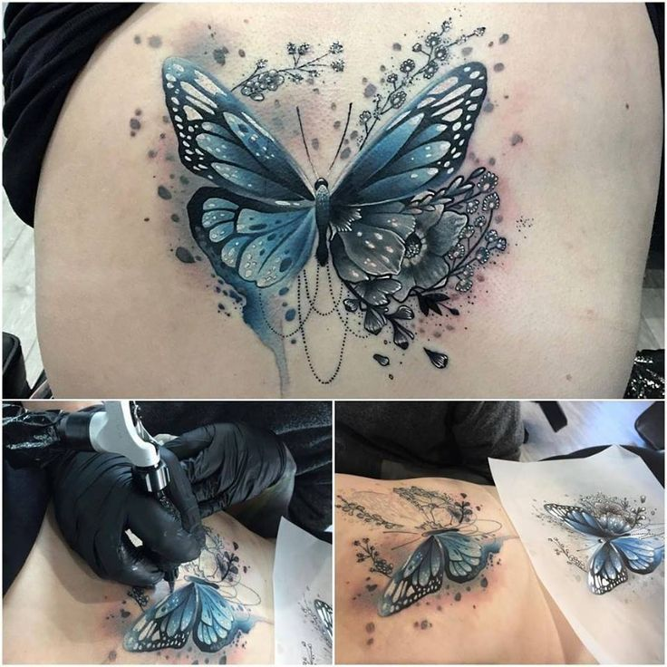Blaue Schmetterling Tatowierung Blaue Schmetterling Tatowierung