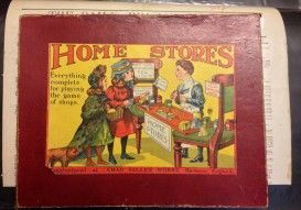 Home Stores Play Set Ca 1910 - $300.00  Ever think of owning your own business? Child's play we say! Here's your opportunity to at the very least make believe that you are the proud owner of your very own general store. What we have for offer is a super rare, one of a kind Home Store Play Set with original box and what appears to be all the contents to open your very little business