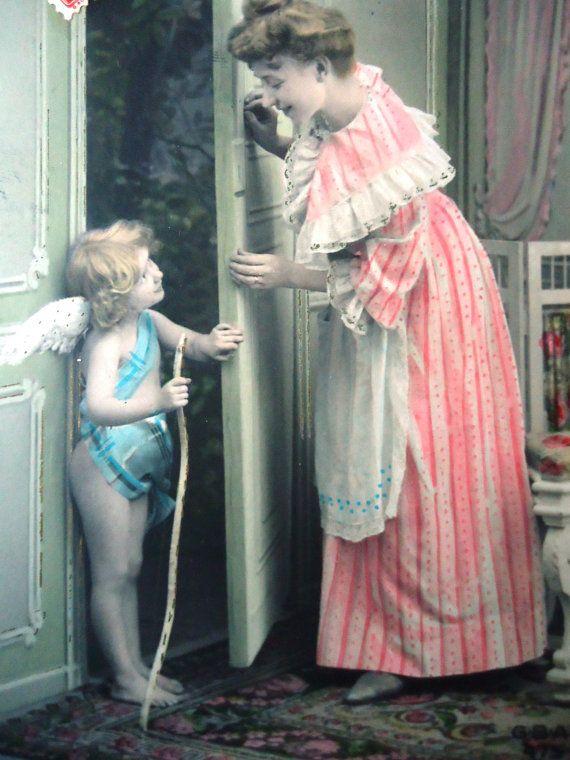 Antique Cupid postcard  Woman lady girl angel by LizKnijnenburg