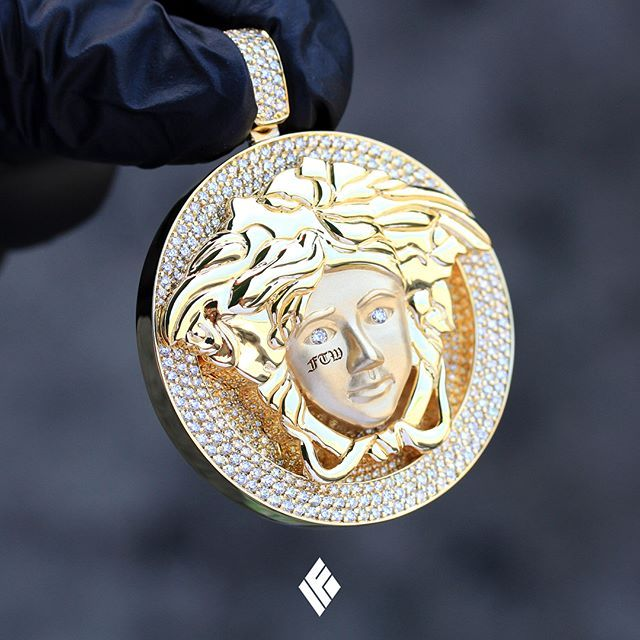 0b62baa1c12 Solid 14K Yellow Gold Standard Size Custom Medusa Pendant Partially Iced  Out With White Diamonds. Specially made for  tattooscoffeeandcigarettes   Medusa ...