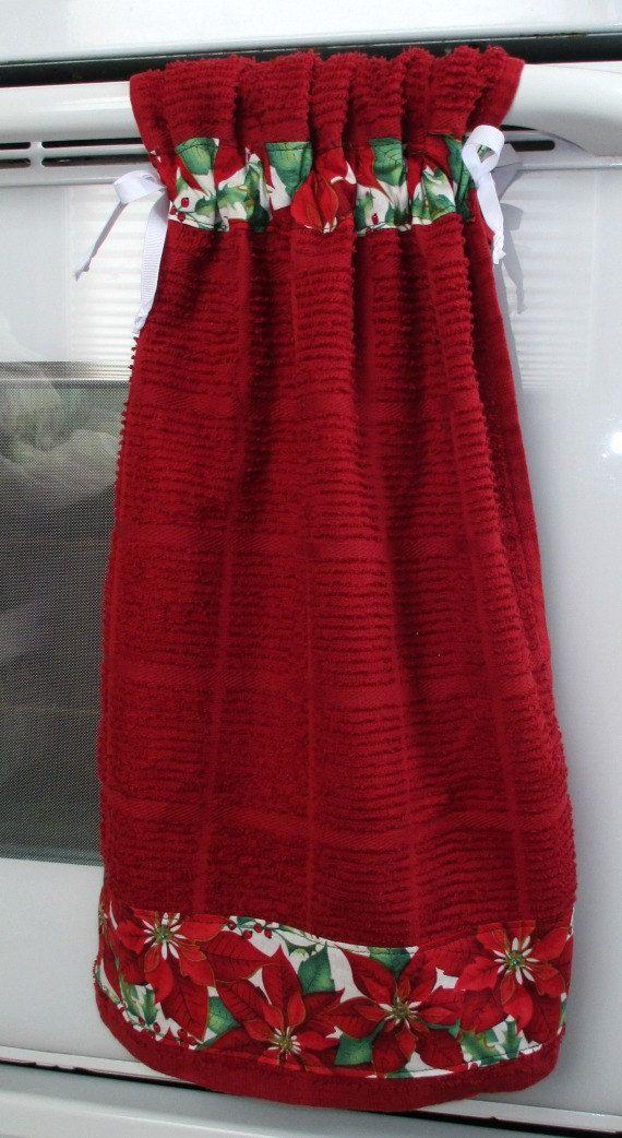 Tie Top TowelsDark Red Kitchen Towel By Allwrappedupandmore, $6.00