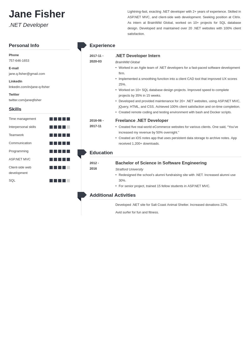 Net Developer Resume Sample Development Resume Engineering Programs