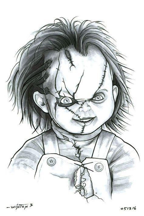 Chucky Tattoo Drawing : chucky, tattoo, drawing, Chucky, ByronWinton.deviantart.com, @DeviantArt, Scary, Drawings,, Horror, Artwork,, Movie