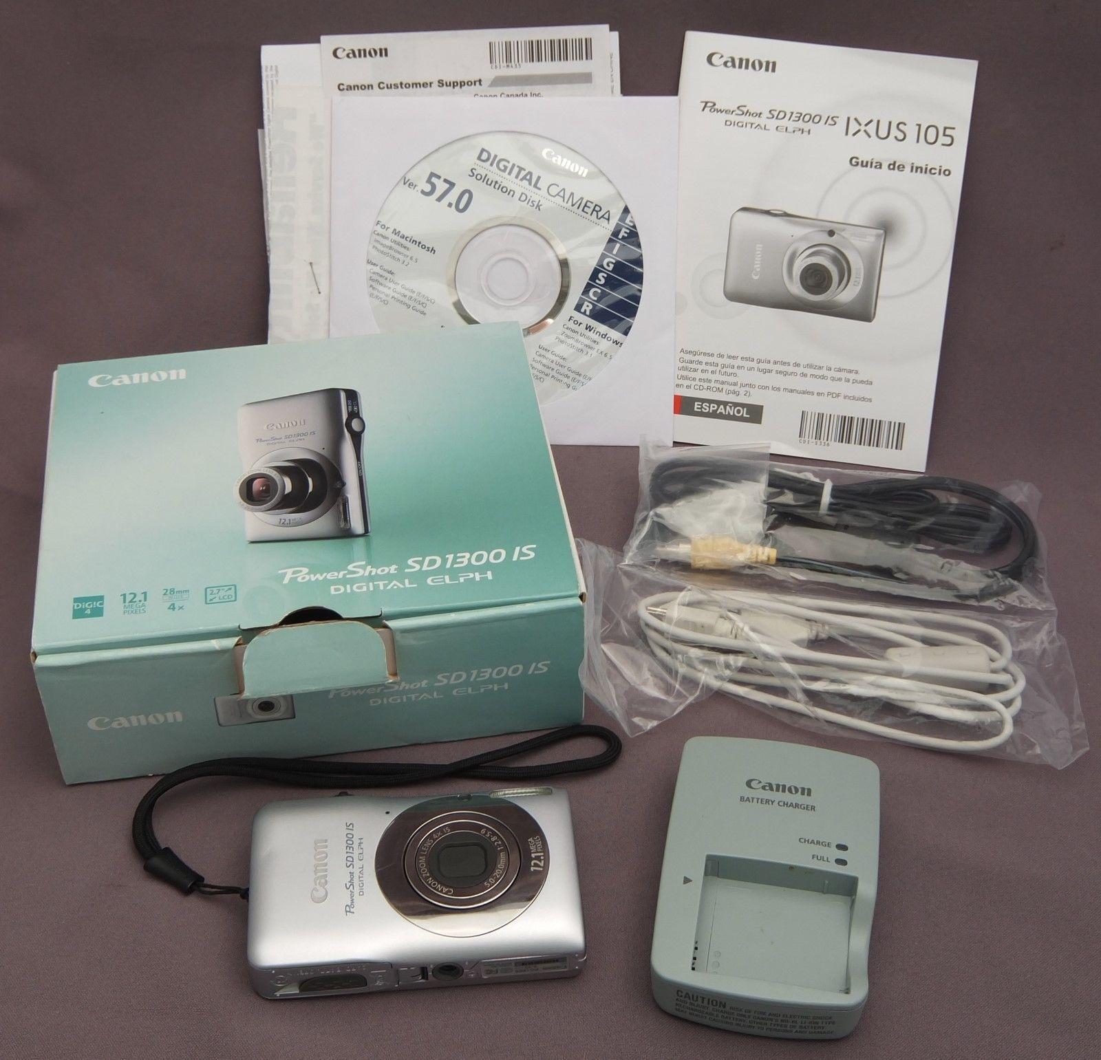 Canon Powershot Digital Elph Sd1300 Is 12 1 Mp Digital Camera Silver In Box Digital Camera Canon Digital Camera Powershot