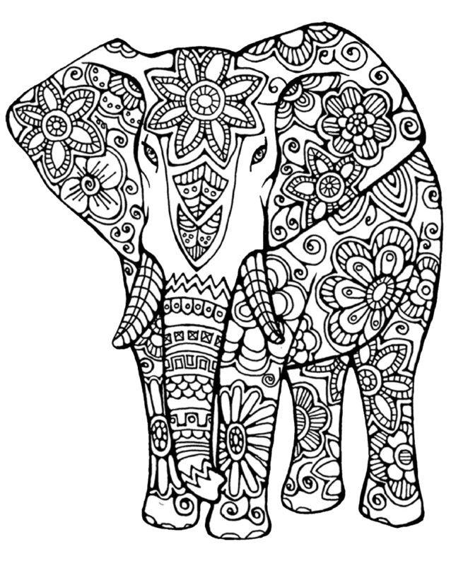 Antistress - Elephant coloring page в 2020 г | Индийский ...