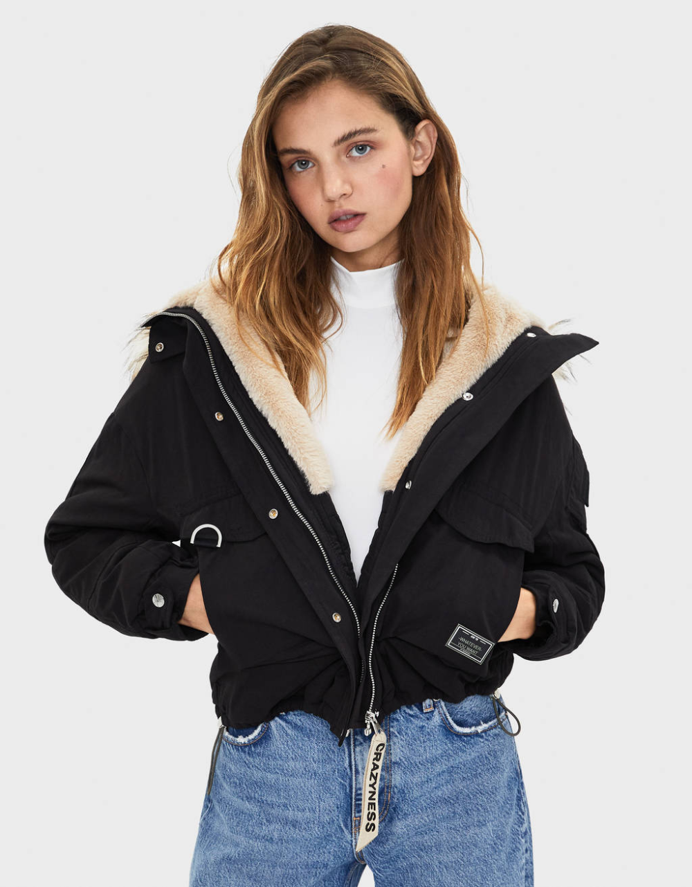 Cropped Parka With Faux Fur Hood Trim Jackets Coats Bershka United Kingdom Faux Fur Hood Trim Womens Fashion Jackets Fashion [ 1282 x 1000 Pixel ]